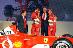 Luca di Montezemelo, Jean Todt, Michael Schumacher and Rubens Barrichello with the new Ferrari F2003-GA