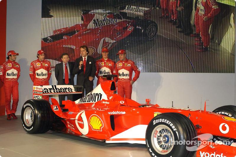 Luca di Montezemelo, Jean Todt, Felipe Massa, Luca Badoer, Michael Schumacher and Rubens Barrichello with the new Ferrari F2003-GA