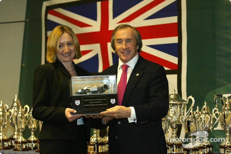 Sir Jackie Stewart and the BRDC trophy winner Johann Gibson. Johann won the replica of the 6 wheel T