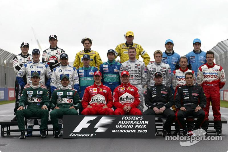 Familiefoto: de klas van 2003 in de Formule 1