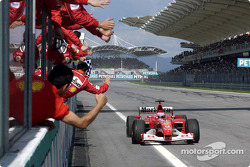Rubens Barrichello takes checkered for second place