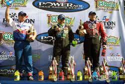 Funny car podium: winner Tony Pedregon with Del Worsham and Gary Densham