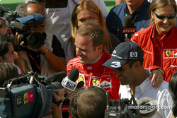 Rubens Barrichello and Juan Pablo Montoya after the press conference