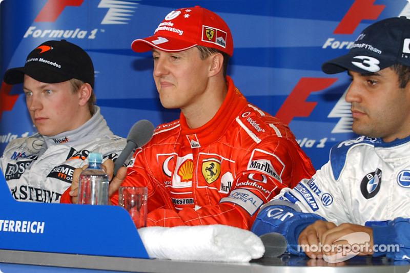 Conferencia de prensa de la FIA: ganador de la pole Michael Schumacher con Kimi Raikkonen y  Juan Pablo Montoya