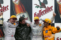 The podium: race winner Christijan Albers with Marcel Fassler, Laurent Aiello and chief designer Gerhard Ungar