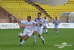 Football match at Stade Louis II in Monaco: Giancarlo Fisichella