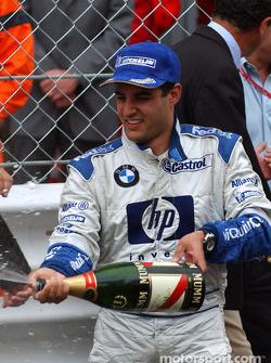 Champagne for race winner Juan Pablo Montoya
