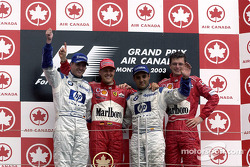The podium: race winner Michael Schumacher, Ralf Schumacher and Juan Pablo Montoya