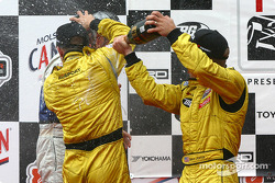 The podium: champagne for A.J. Allmendinger, Aaron Justus and Jonathan Macri