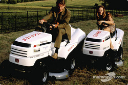 Jenson Button with his girlfriend