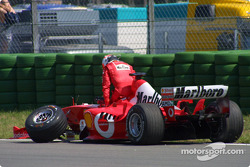 Rubens Barrichello after the first corner crash