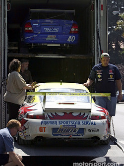 Unloading cars for the Mini Le Mans of San Jose