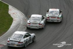 #18 TPC Racing Porsche GT3 Cup: Michael Levitas, Randy Pobst, and #64 Glenn Yee Motorsports Porsche GT3 Cup: Geoff Escalette, Hugh Plumb