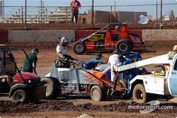 Mike Martin and Kaylene Verville detangle after Martin's collision with Rodney Capello