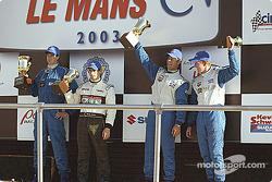 Podium: race winner Jonathan Bomarito with Westley Barber and Charlie Kimball