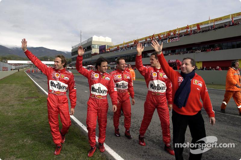 Luca Badoer, Felipe Massa, Rubens Barrichello, Michael Schumacher ve Jean Todt