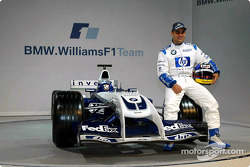 Juan Pablo Montoya with the new WilliamsF1 BMW FW26