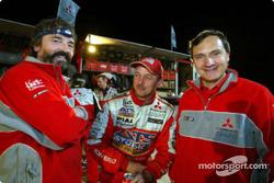Mitsubishi's Bernard Maingret, Jean-Paul Cottret and team director Dominique Serieys