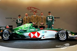 Christian Klien, Director of Engineering for Jaguar Racing, Ian Pocock, Managing Director of Jaguar Racing, David Pitchforth, CEO of Premier Performance Division Tony Purnell and Mark Webber pose with the new Jaguar R5