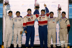 SGS podium: class winners Michael Levitas, Randy Pobst, with Craig Stanton, David Murry, and Marc Bunting, Andy Lally