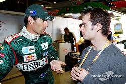 Mark Webber with NASCAR superstar Jeff Gordon