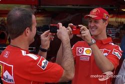 Olympus media event: Rubens Barrichello and Michael Schumacher