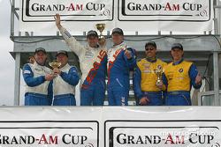 ST podium: class winners Ian James, Chuck Goldsborough, with Will Turner, Don Salama, and Eric Curran, Bob Beede