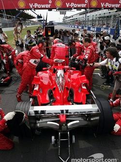 Michael Schumacher on the starting grid