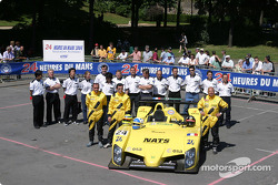 Team photo: WR car with team and drivers Patrice Roussel, Olivier Porta, Yojiro Terada