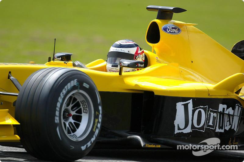 Nigel Mansell essaie la Jordan EJ14