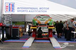 The Racer's Group car going through IMSA scrutineering