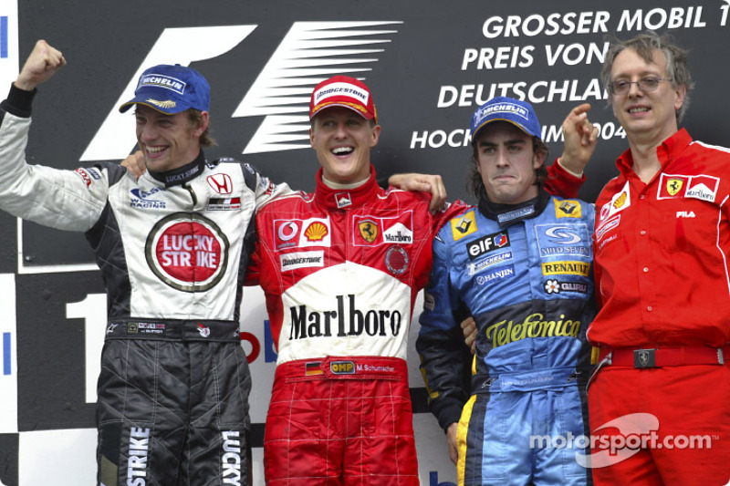 2004: 1. Michael Schumacher, 2. Jenson Button, 3. Fernando Alonso