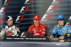 Conferencia de prensa FIA: Michael Schumacher con Jenson Button y Fernando Alonso