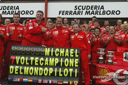 Michael Schumacher celebrates 7th World Championship