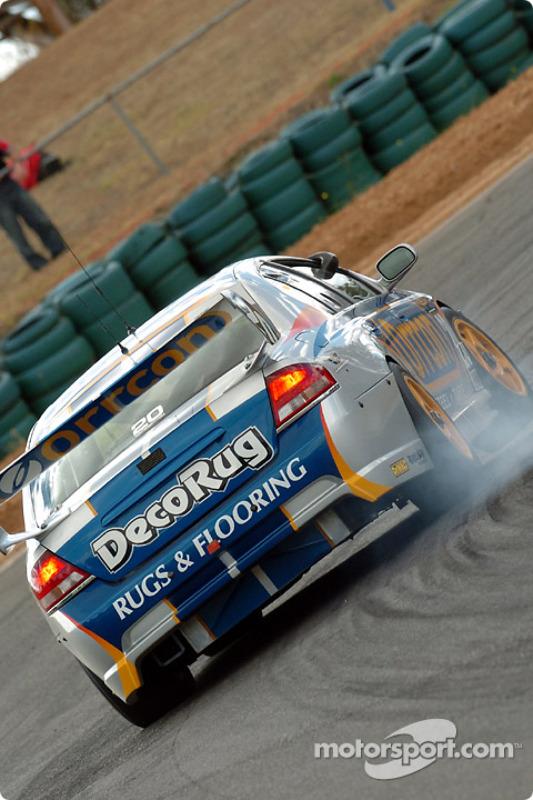 Mark Winterbottom locks a front brake