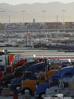 Haulers lined up in the California morning
