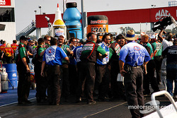 The John force team celebrates Gary Densham's win