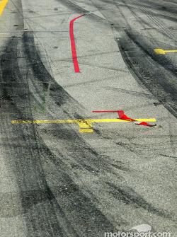 Tire marks on pitlane