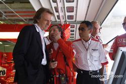 Luca di Montezemelo and Jean Todt watch Michael Schumacher qualifies