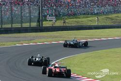 Juan Pablo Montoya, David Coulthard and Rubens Barrichello