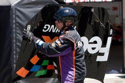 Denny Hamlin, Joe Gibbs Racing Toyota gets caught up in a wreck