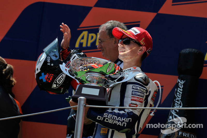 Podium: race winnaar Jorge Lorenzo, Fiat Yamaha Team