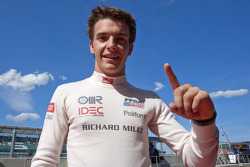 Jules Bianchi celebrates his pole position