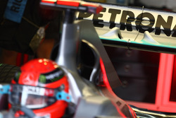 A new rear wing design on Michael Schumacher, Mercedes GP