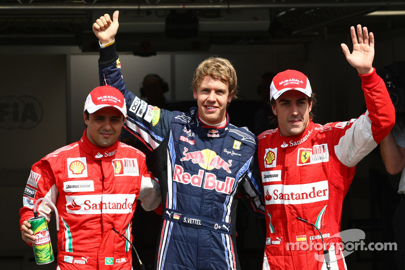 Pole winner Sebastian Vettel, Red Bull Racing, second place Fernando Alonso, third place Felipe Massa, Scuderia Ferrari