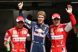 Pole winner Sebastian Vettel, Red Bull Racing, second place Fernando Alonso, third place Felipe Massa, Scuderia Ferrari