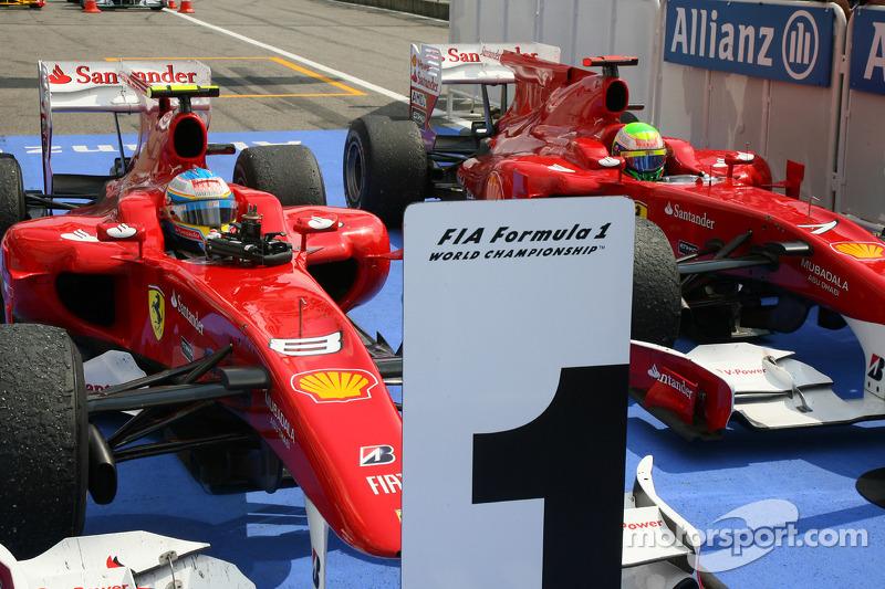 Race winner Fernando Alonso, Scuderia Ferrari and second place Felipe Massa, Scuderia Ferrari