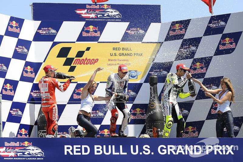 Podium: race winnaar Jorge Lorenzo, Fiat Yamaha Team, 2de Casey Stoner, Ducati Marlboro Team, 3de Valentino Rossi, Fiat Yamaha Team