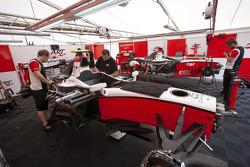 ART Grand Prix mechanics at work