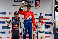 Podium from left: Jean-Eric Vergne, James Calado and Rupert Svendsen-Cook